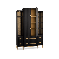 living room black satin cabinet