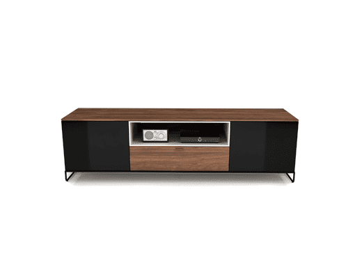 living room linea tv stand with glass doors