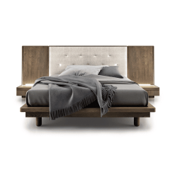 bedroom surface upholstered bed with night tables