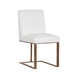 dean dining chair in white and antique brass