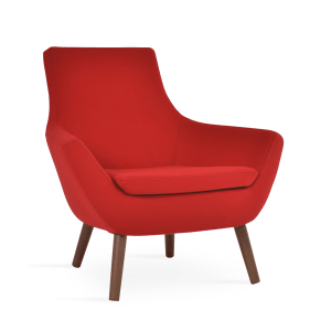 living room rebecca wood armchair-red-camira-wool-walnut