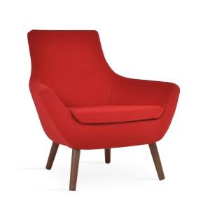 living room rebecca wood armchair-red-camira-wool-walnut