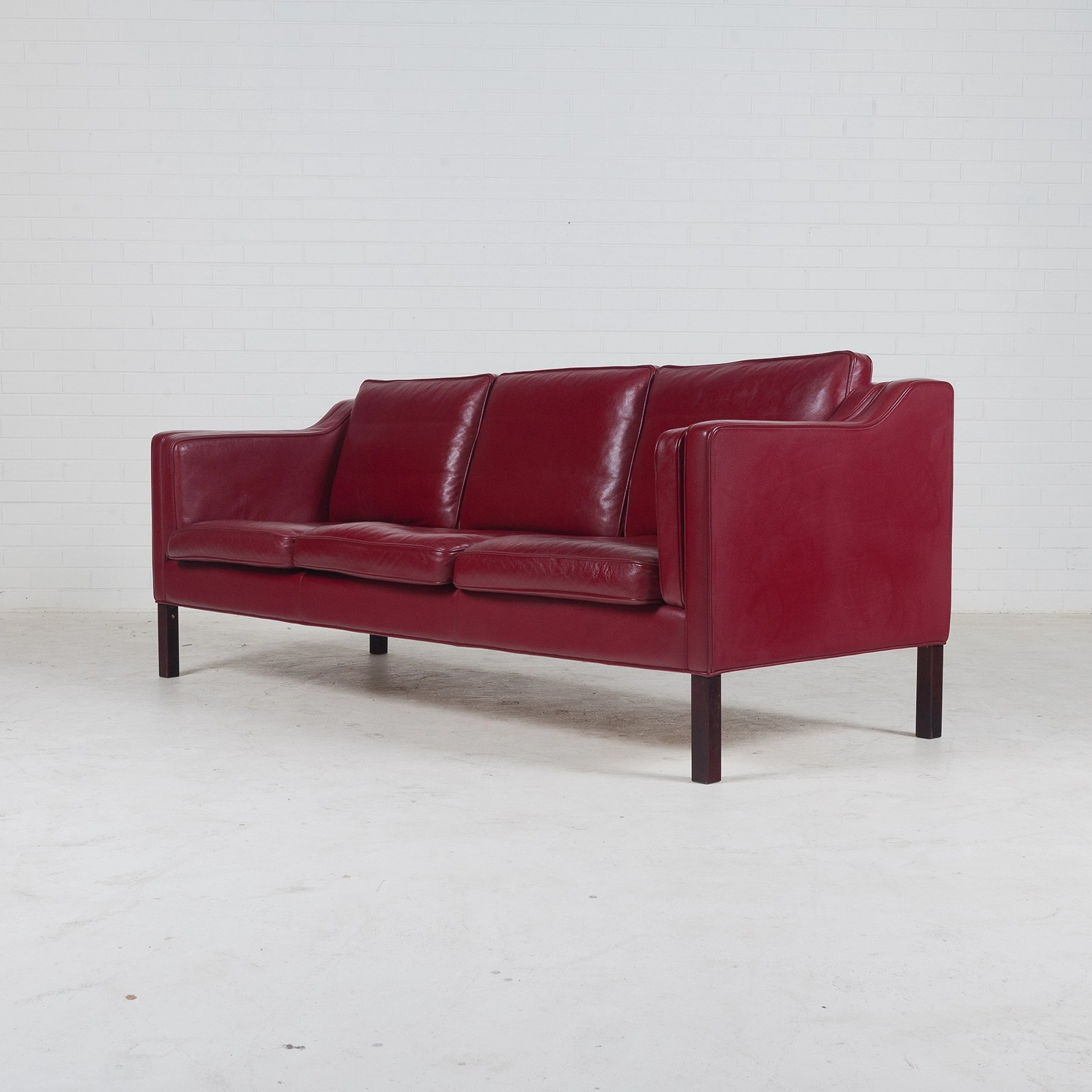 cherry red leather sofa 72 inch wide bed 3 seat in and stained legs 1960s