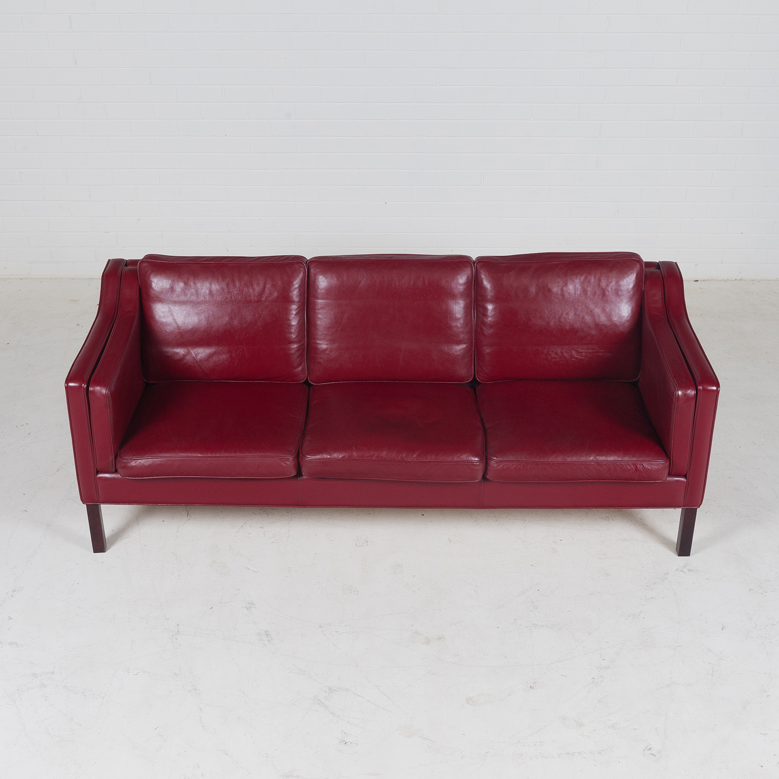 cherry red leather sofa bunk bed combo 3 seat in and stained legs 1960s