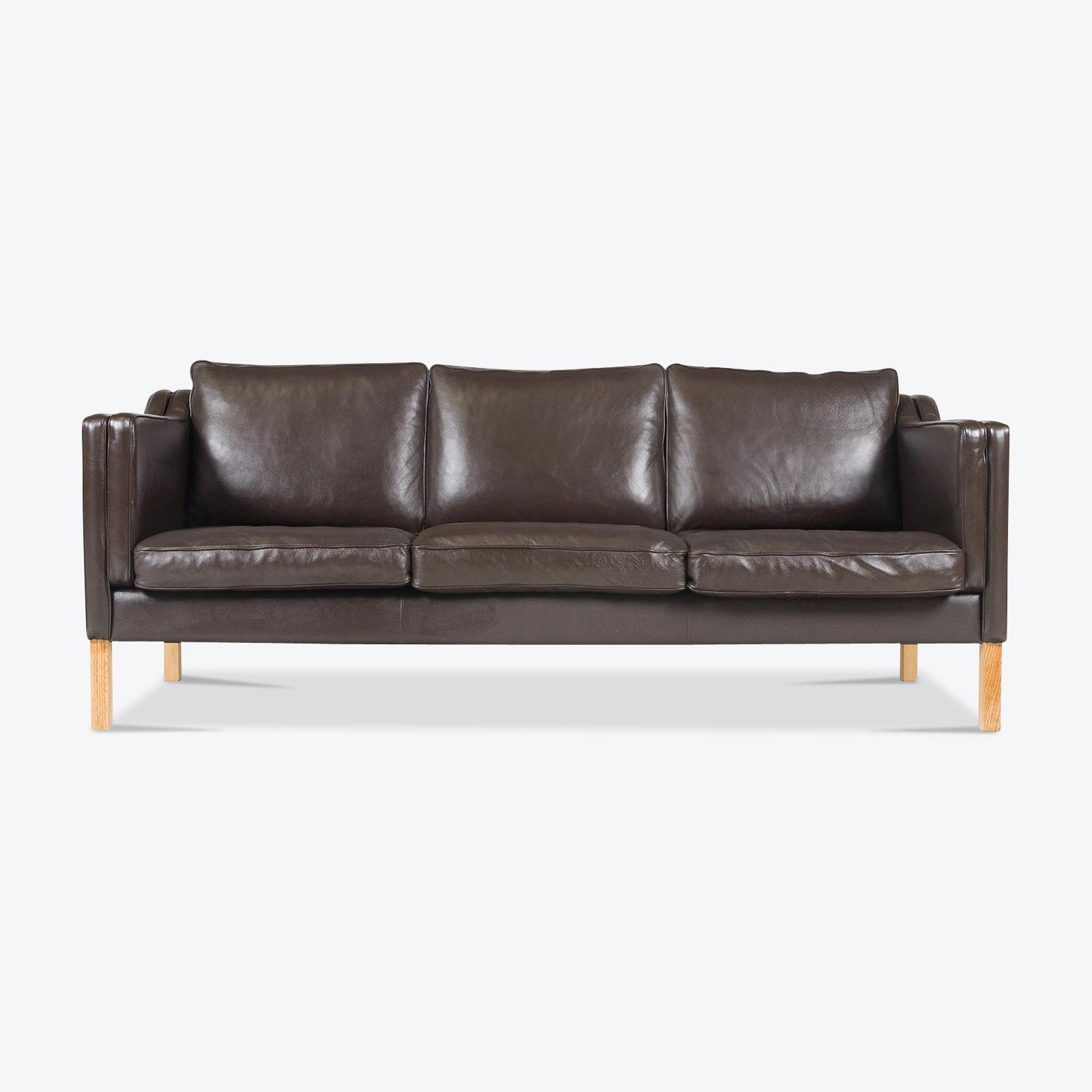 brown leather sofa on legs jennifer convertible bed reviews 3 seat in mocha and oak 1960s