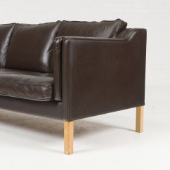 Brown Leather Sofa On Legs Thayer Coggin 3 Seat In Mocha And Oak 1960s