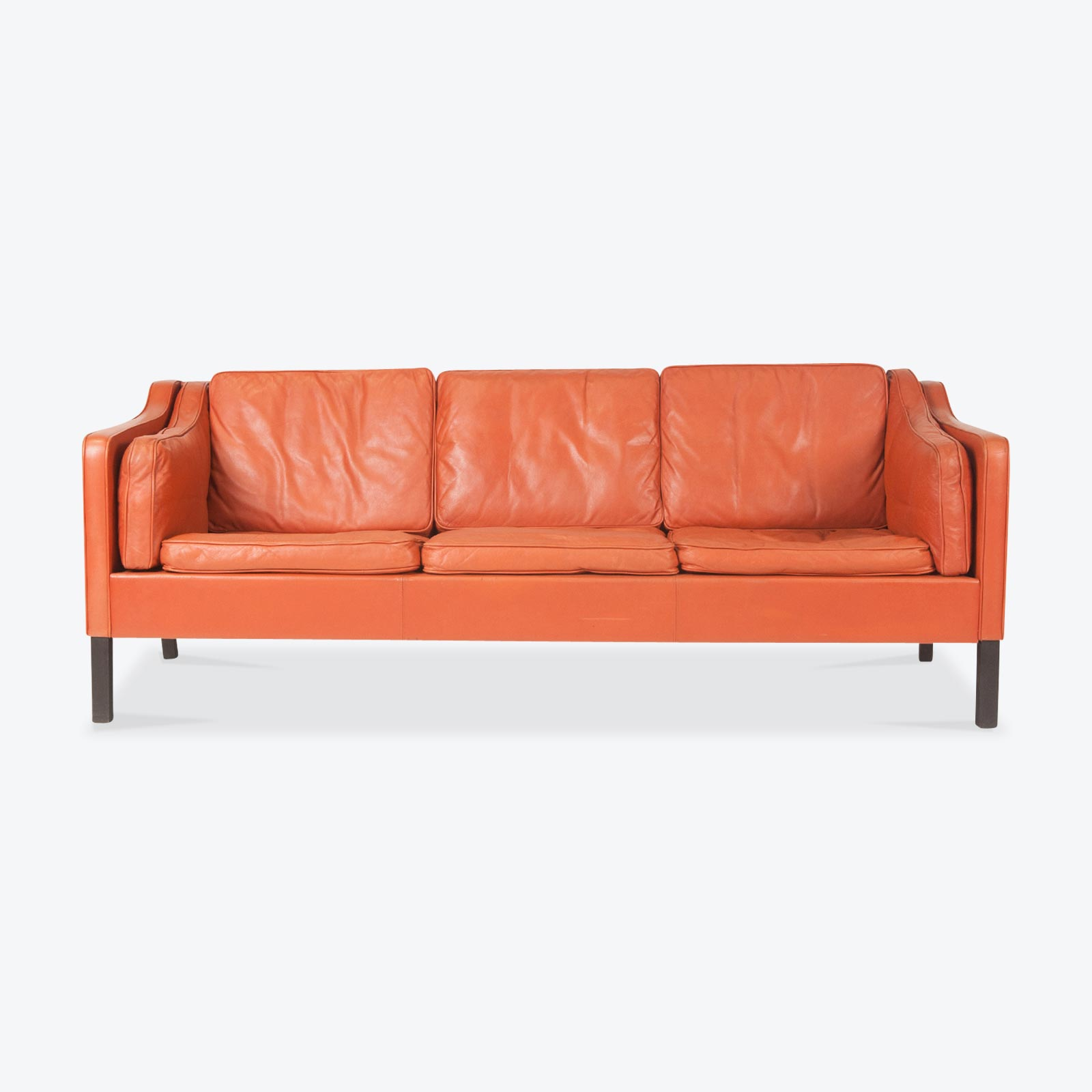 tangerine sofa cleaning service dubai 3 seat in leather with stained beech legs