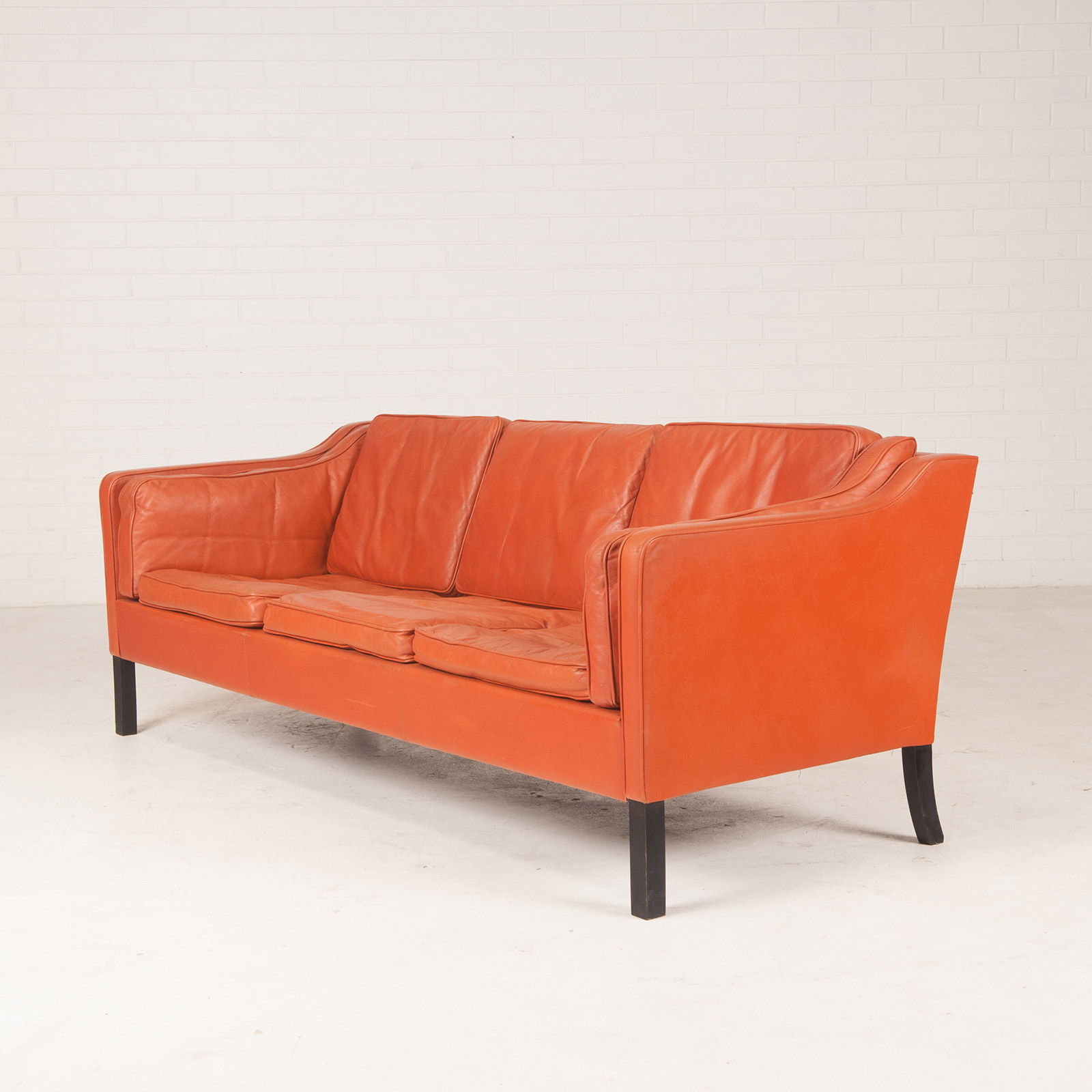 tangerine sofa ikea casters 3 seat in leather with stained beech legs