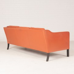 Tangerine Sofa And Loveseats 3 Seat In Leather With Stained Beech Legs