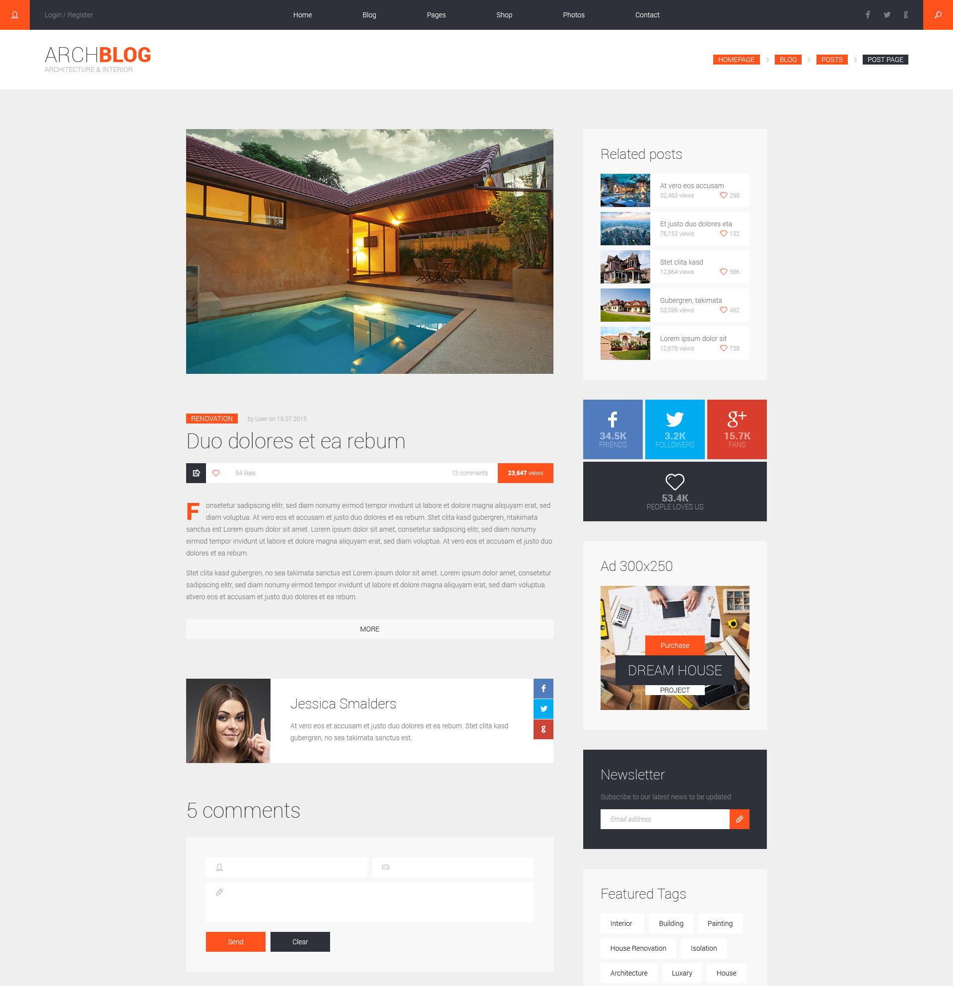 Archblog Architecture Portfolio And Blog Html Template