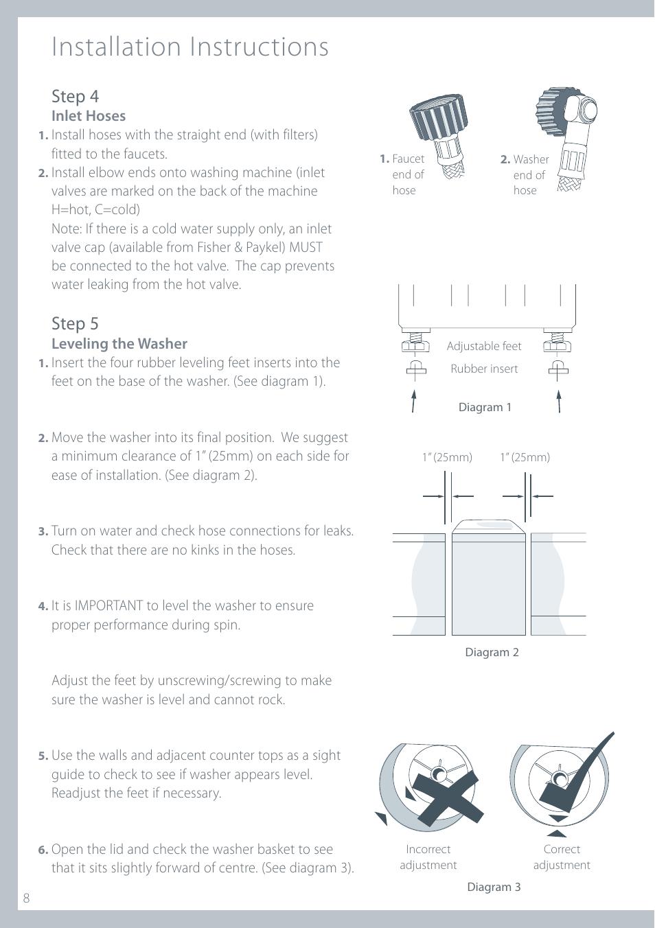 medium resolution of installation instructions step 4 step 5 fisher paykel iwl12 manuel d utilisation page 8 80