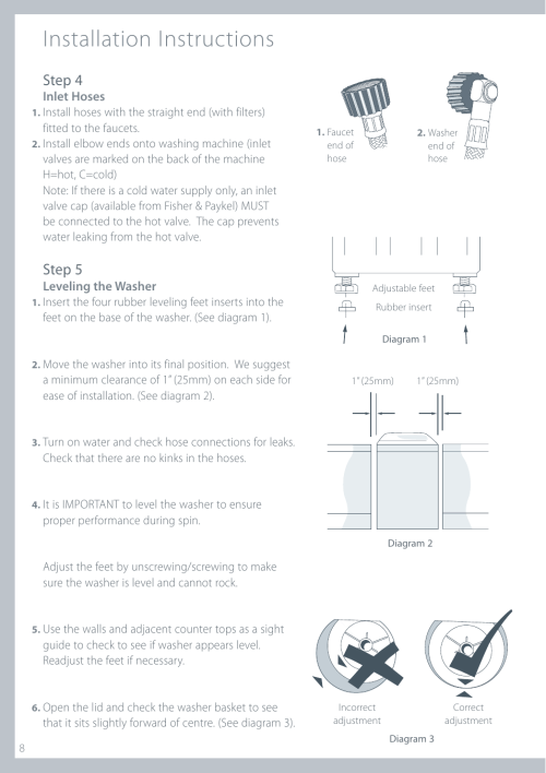 small resolution of installation instructions step 4 step 5 fisher paykel iwl12 manuel d utilisation page 8 80