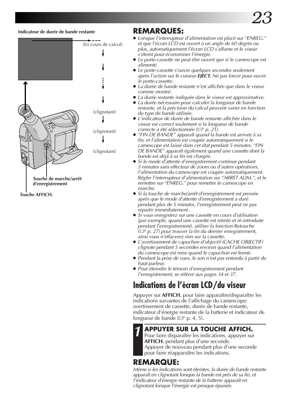 Indications de l'écran lcd/du viseur, Remarques, Remarque