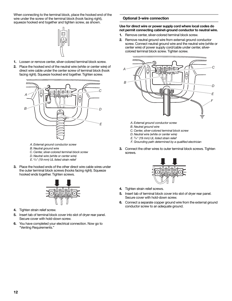 hight resolution of tighten strain relief screw optional 3 wire connection remove electric dryers direct 3wire connection