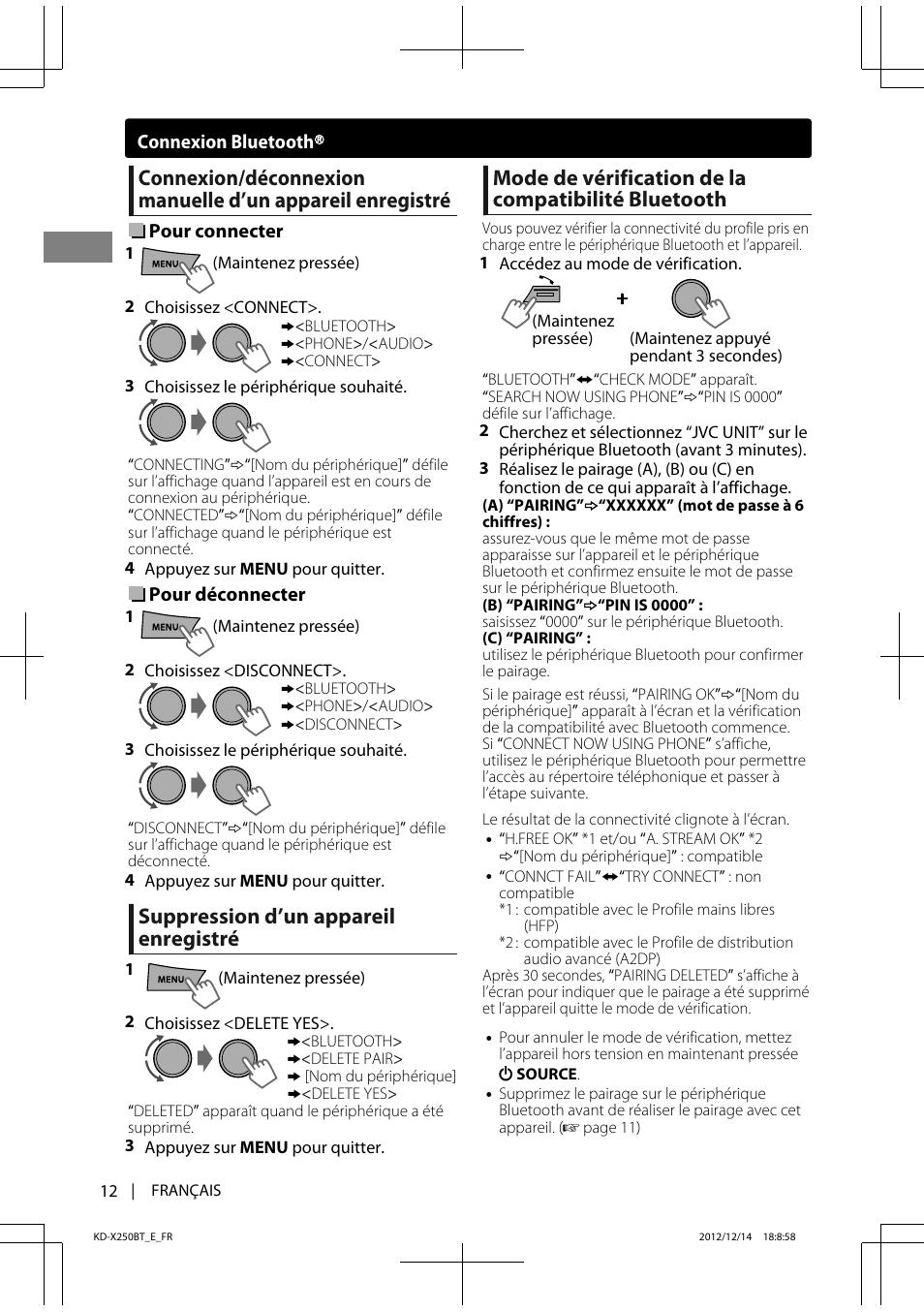 Suppression d'un appareil enregistré, Mode de vérification