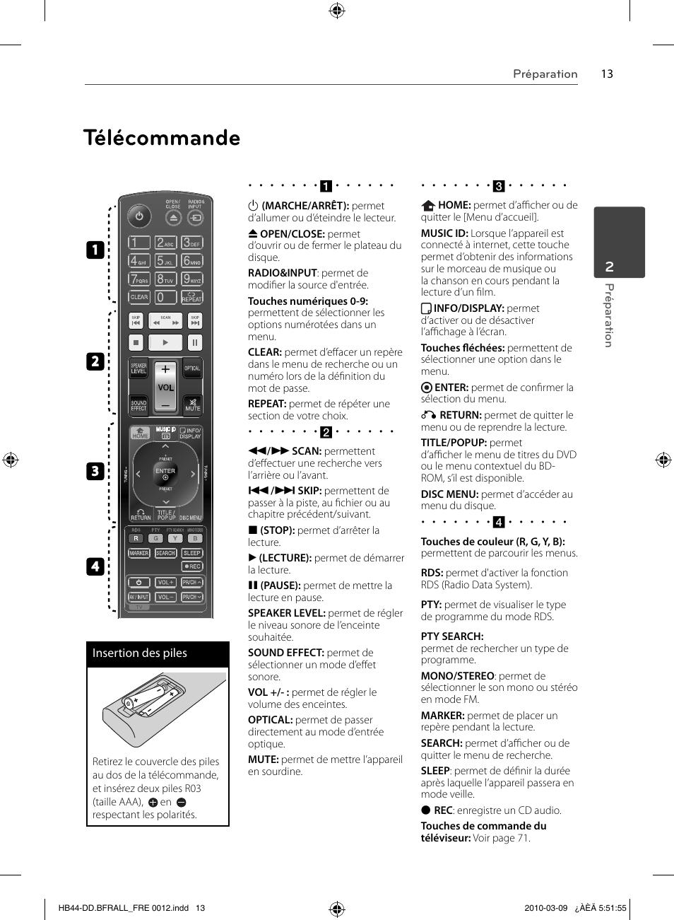 Mode Demploi De La Télécommande Lg