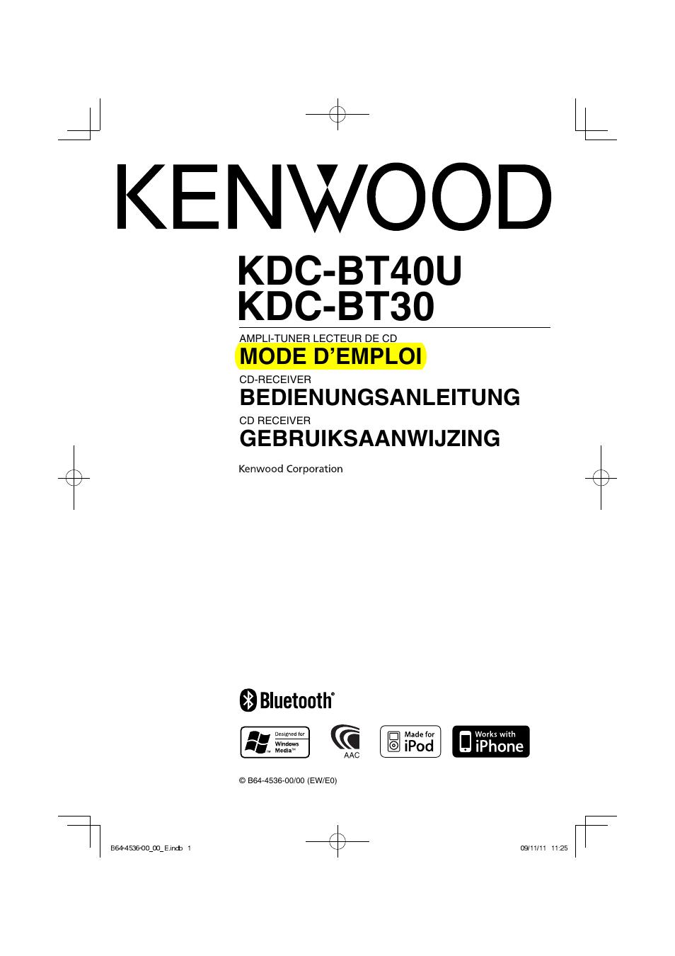 Bedienungsanleitung Kenwood Kdc Bt40u