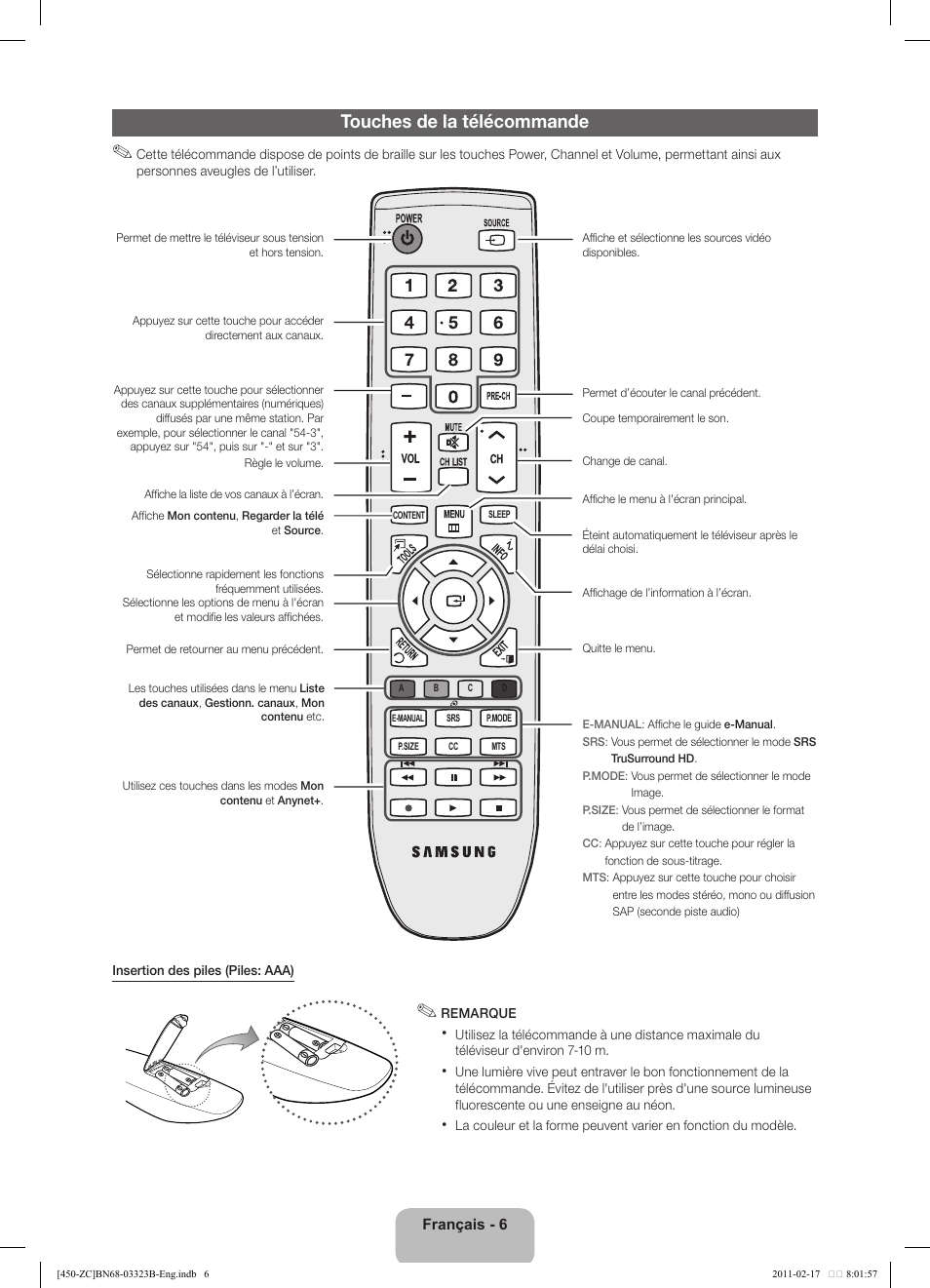 Télécommande Samsung Mode Demploi