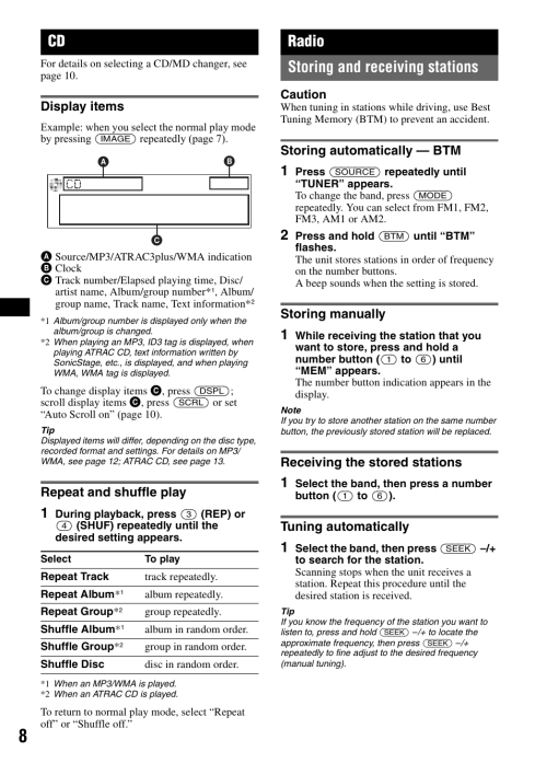 small resolution of display items repeat and shuffle play radio sony cdx gt500 manuel d utilisation page 8 36