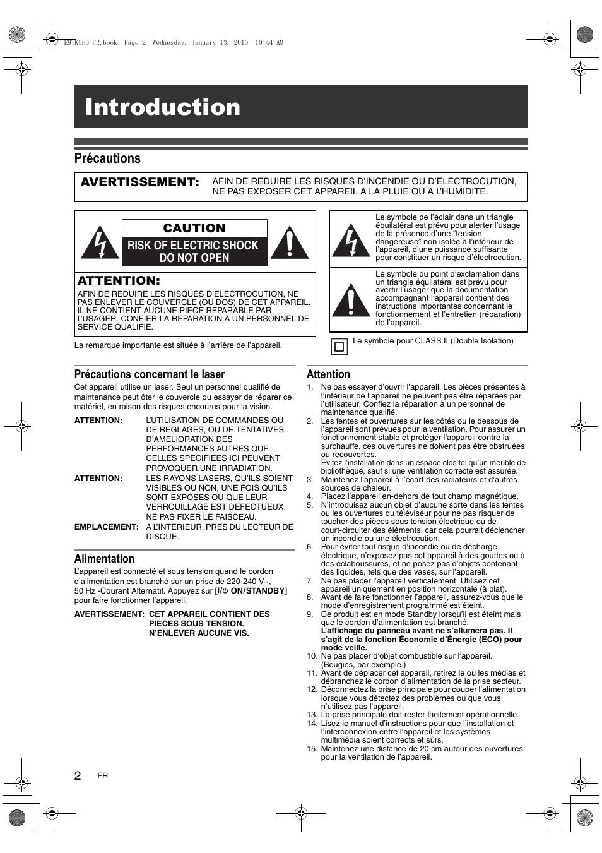 Introduction, Précautions, Précautions concernant le laser