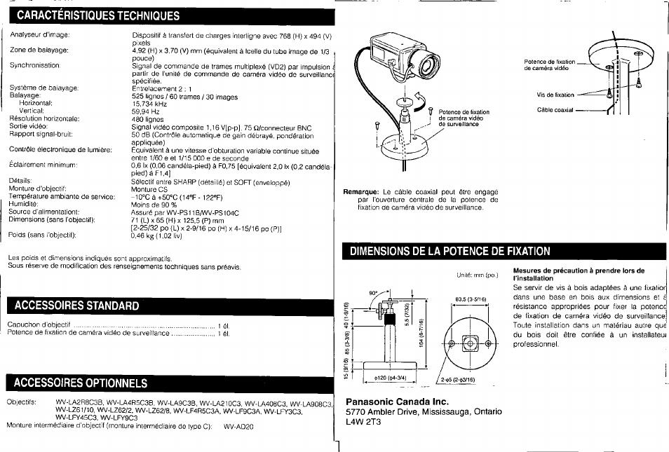 Caracteristiques techniques, Accessoires standard