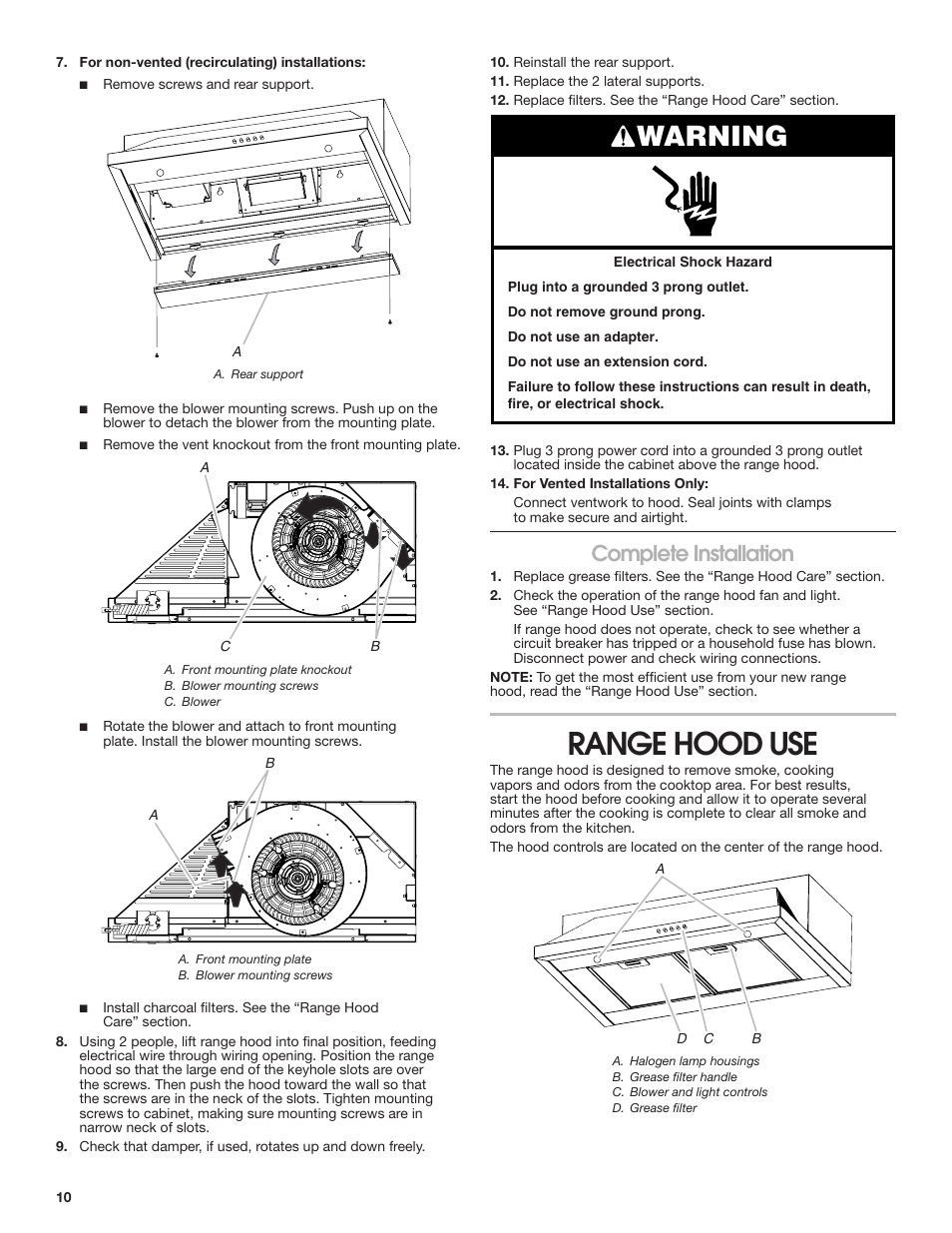 hight resolution of range hood use warning complete installation maytag uxt5536aas manuel d utilisation page 10 28
