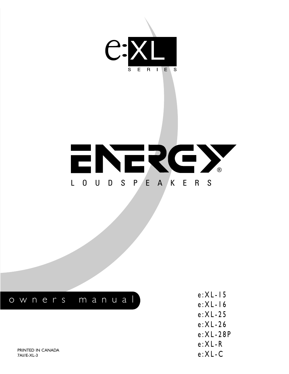 Energy Speaker Systems Pro Series e:XL-15 Manuel d