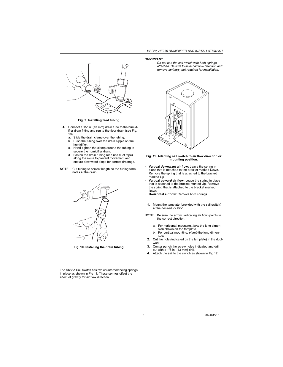 hight resolution of installing the sail switch adapting switch to air flow direction honeywell he220 manuel d utilisation page 5 24