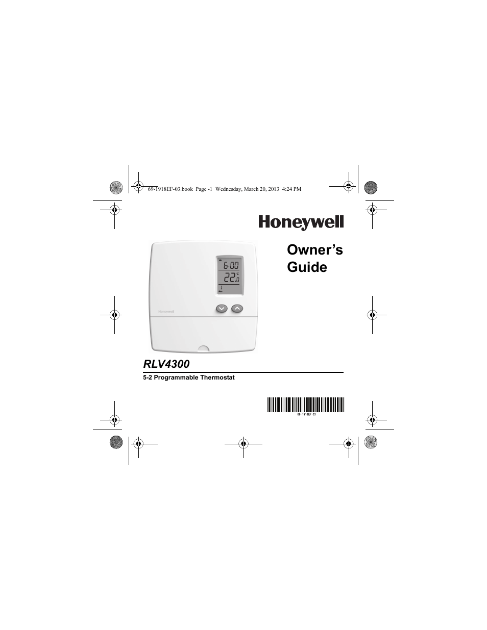 Honeywell 5-2 PROGRAMAMABLE THERMOSTAT RLV4300 Manuel d