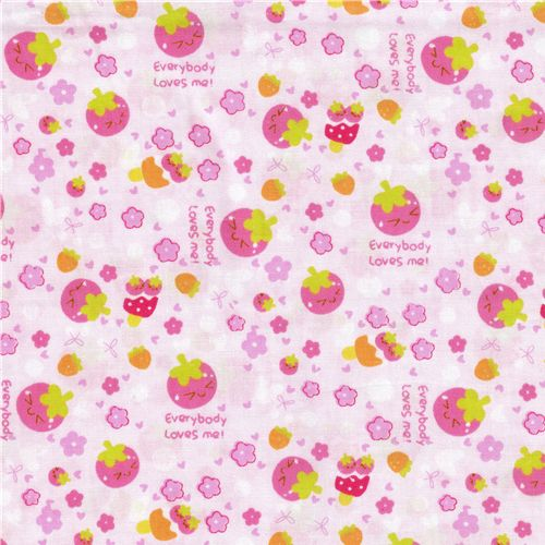 kawaii strawberry fabric