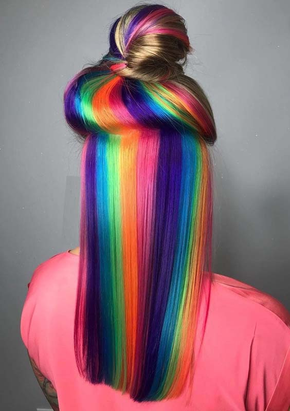 30 Favorite Rainbow Hair Colors with Top Knot Bun in 2018  Modeshack
