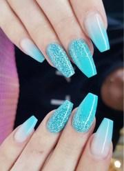 stylish glitter mali blue nail