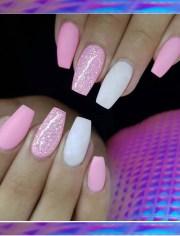 cool pink matte glitter nail