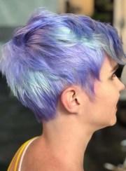 blue short pixie haircut