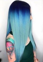adorable long sleek blue hairstyles