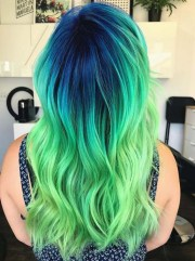 beautiful blue & green hair color