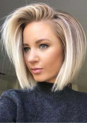 modern side swept blonde bob hairstyles