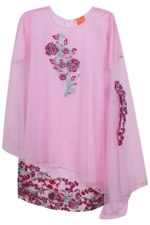 embrioded stylish pink cape