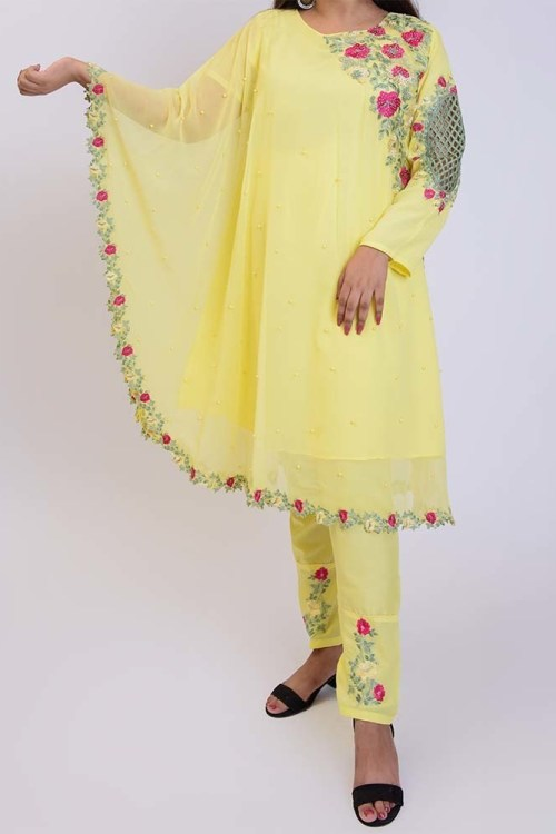 women yellow cape dress