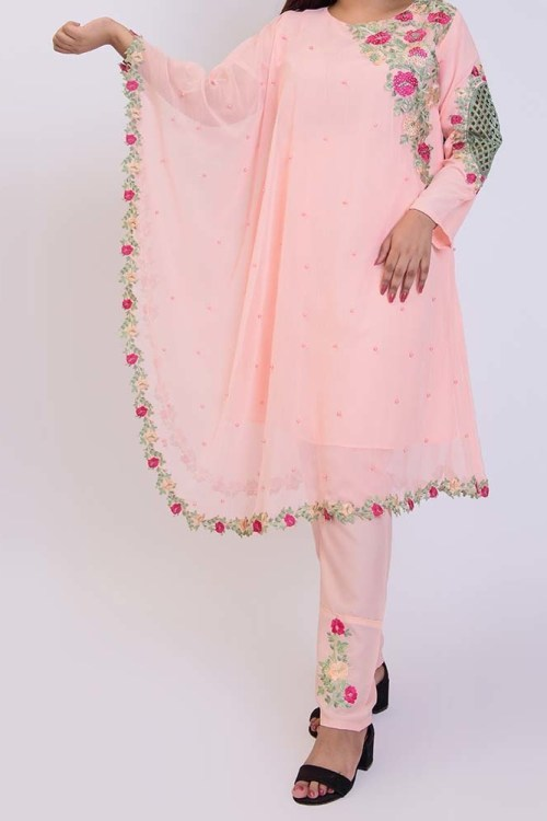 women pink cape dress