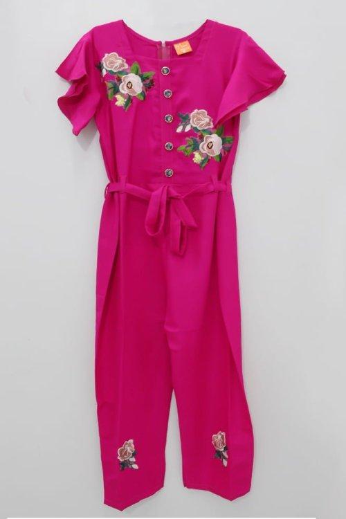 Pink Floral Jump Suit