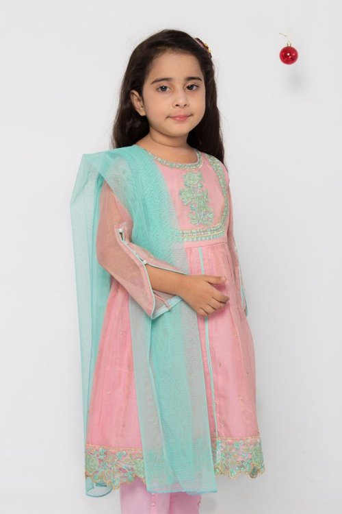 kids Pearls Embroidered Dress