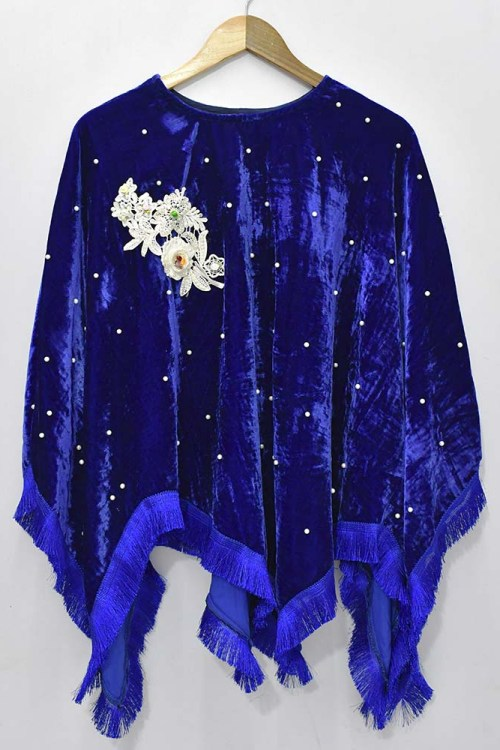 blue velvet girls dress