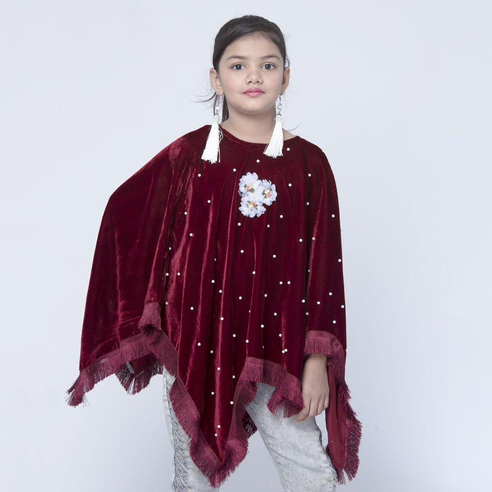 Maroon velvet girls dress