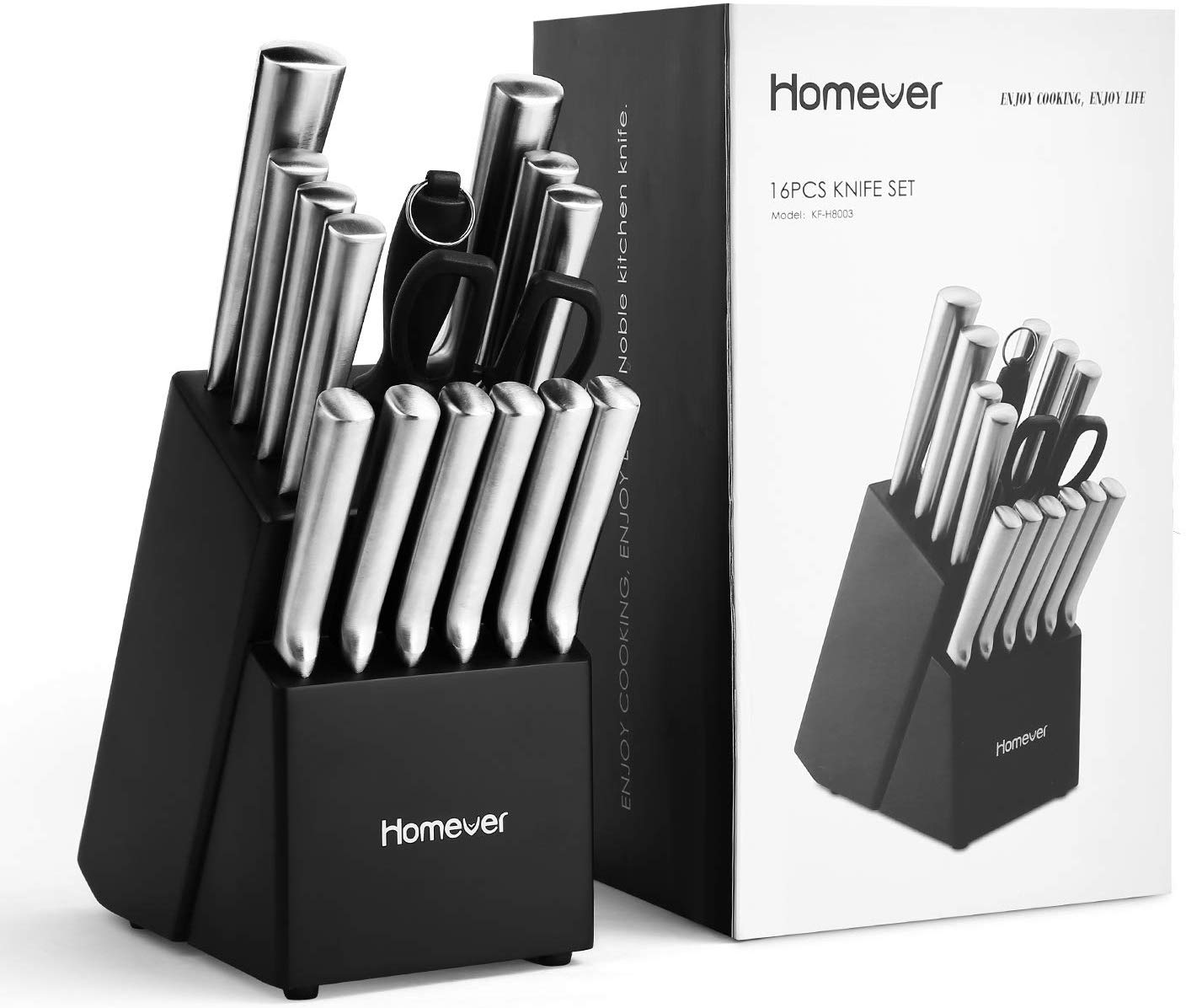 knife set with block, homever 16-piece kitchen knife set