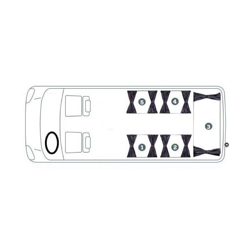 VW Transporter T4 / T5 Curtain Set (2 Side Windows