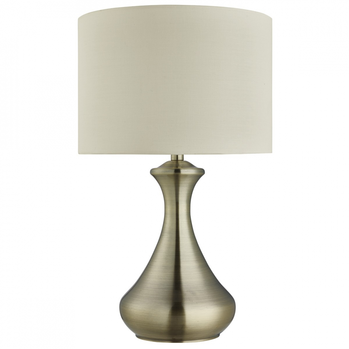Antique Brass Touch Table Lamp Complete with Cream Fabric