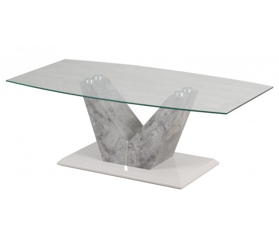 dolce glass and grey stone look coffee table
