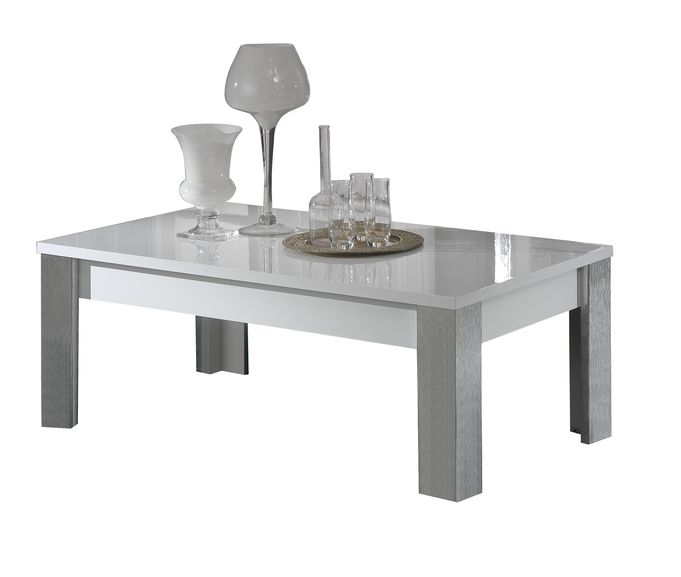 dolcevita silver and white high gloss rectangular coffee table