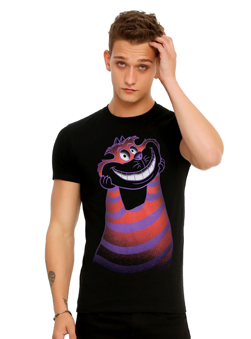 Handsome Male Model Wearing a Black Alice in Wonderland Cheshire Cat T-Shirt